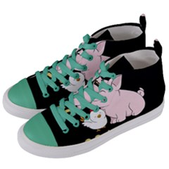 Go Vegan   Cute Pig And Chicken Women s Mid Top Canvas Sneakers by Valentinaart