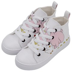 Go Vegan   Cute Pig And Chicken Kid s Mid Top Canvas Sneakers by Valentinaart