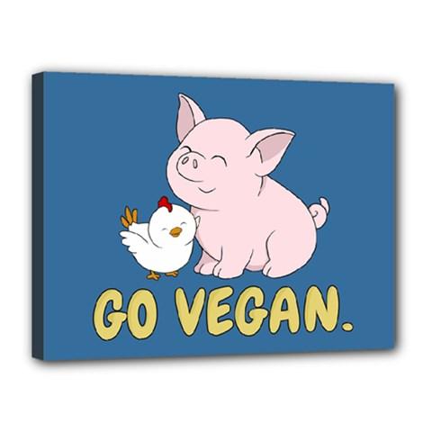 Go Vegan   Cute Pig And Chicken Canvas 16  X 12  by Valentinaart