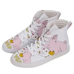 Go Vegan   Cute Pig And Chicken Men s Hi Top Skate Sneakers by Valentinaart