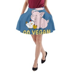 Go Vegan   Cute Pig And Chicken A Line Pocket Skirt by Valentinaart