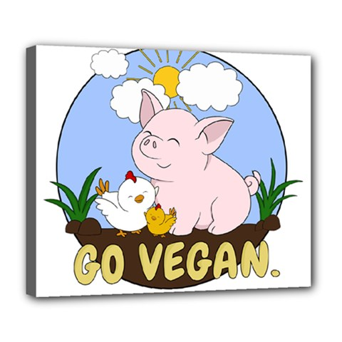 Go Vegan   Cute Pig And Chicken Deluxe Canvas 24  X 20   by Valentinaart