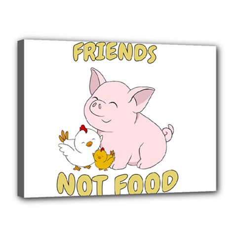 Friends Not Food   Cute Pig And Chicken Canvas 16  X 12  by Valentinaart