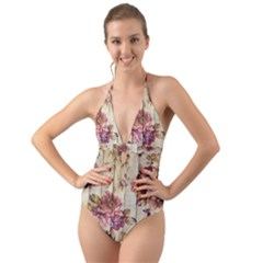 On Wood 1897174 1920 Halter Cut Out One Piece Swimsuit
