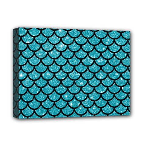 Scales1 Black Marble & Turquoise Glitter Deluxe Canvas 16  X 12   by trendistuff