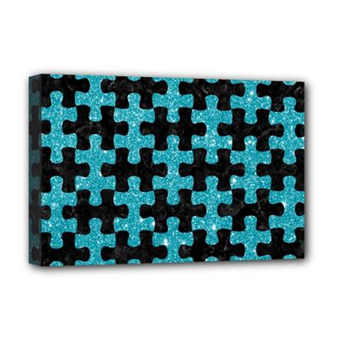 Puzzle1 Black Marble & Turquoise Glitter Deluxe Canvas 18  X 12   by trendistuff