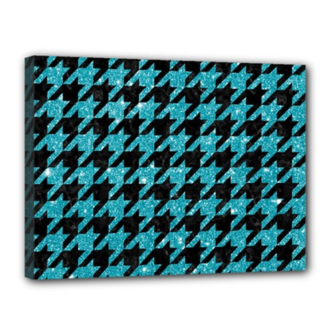Houndstooth1 Black Marble & Turquoise Glitter Canvas 16  X 12  by trendistuff