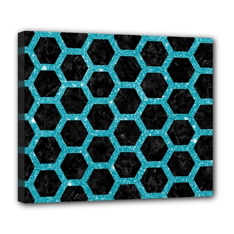 Hexagon2 Black Marble & Turquoise Glitter (r) Deluxe Canvas 24  X 20   by trendistuff
