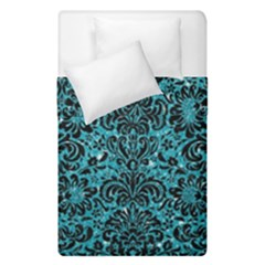 Damask2 Black Marble & Turquoise Glitter Duvet Cover Double Side (single Size) by trendistuff