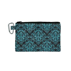 Damask1 Black Marble & Turquoise Glitter (r) Canvas Cosmetic Bag (small)