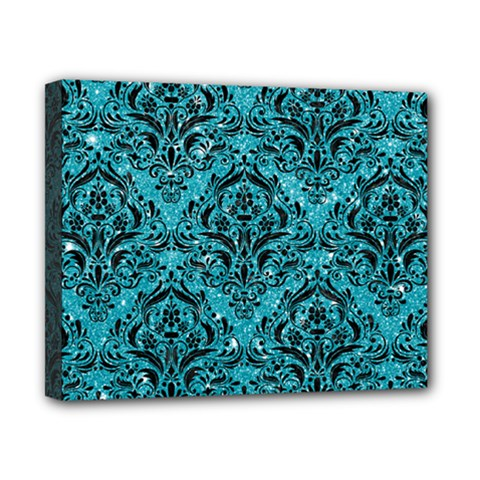 Damask1 Black Marble & Turquoise Glitter Canvas 10  X 8  by trendistuff