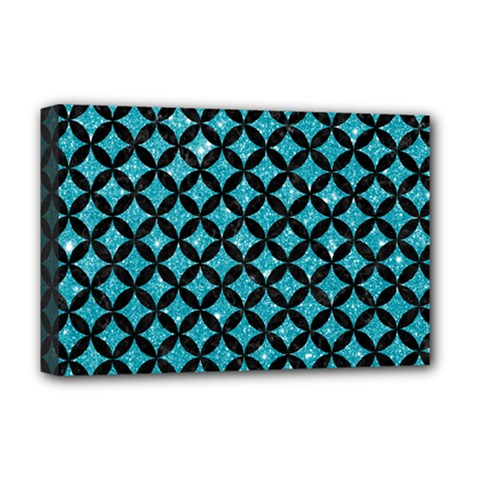 Circles3 Black Marble & Turquoise Glitter Deluxe Canvas 18  X 12   by trendistuff