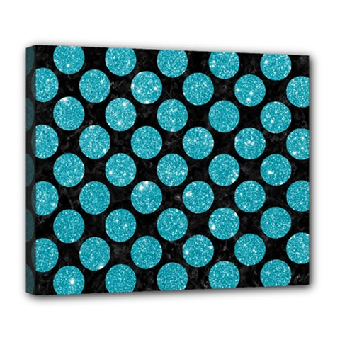 Circles2 Black Marble & Turquoise Glitter (r) Deluxe Canvas 24  X 20   by trendistuff