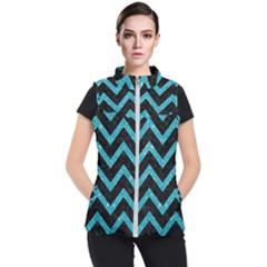 Chevron9 Black Marble & Turquoise Glitter (r) Women s Puffer Vest