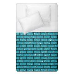 Brick1 Black Marble & Turquoise Glitter Duvet Cover (single Size) by trendistuff