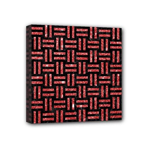 Woven1 Black Marble & Red Glitter (r) Mini Canvas 4  X 4  by trendistuff