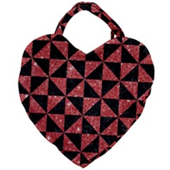 Triangle1 Black Marble & Red Glitter Giant Heart Shaped Tote by trendistuff