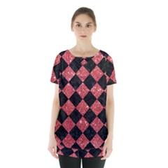 Square2 Black Marble & Red Glitter Skirt Hem Sports Top by trendistuff