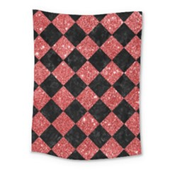 Square2 Black Marble & Red Glitter Medium Tapestry by trendistuff