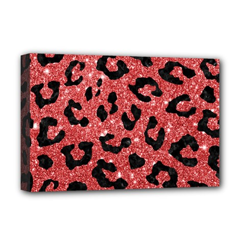 Skin5 Black Marble & Red Glitter (r) Deluxe Canvas 18  X 12   by trendistuff
