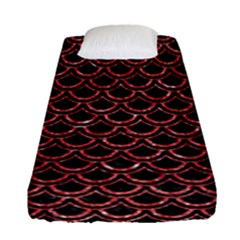 Scales2 Black Marble & Red Glitter (r) Fitted Sheet (single Size) by trendistuff