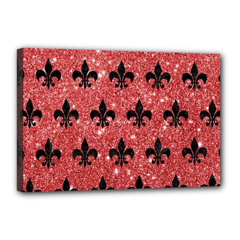 Royal1 Black Marble & Red Glitter (r) Canvas 18  X 12  by trendistuff