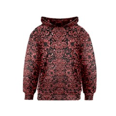 Damask2 Black Marble & Red Glitter (r) Kids  Pullover Hoodie