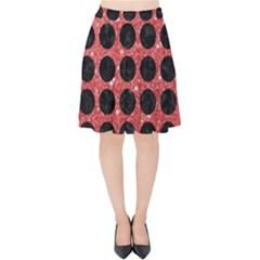 Circles1 Black Marble & Red Glitter Velvet High Waist Skirt by trendistuff
