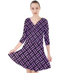 Woven2 Black Marble & Purple Glitter (r) Quarter Sleeve Front Wrap Dress	 by trendistuff