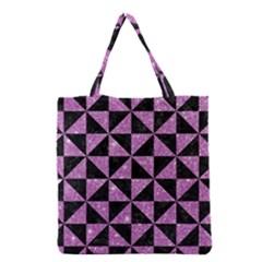 Triangle1 Black Marble & Purple Glitter Grocery Tote Bag by trendistuff