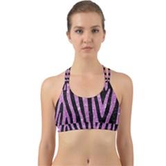 Skin4 Black Marble & Purple Glitter Back Web Sports Bra