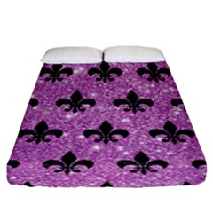 Royal1 Black Marble & Purple Glitter (r) Fitted Sheet (king Size) by trendistuff