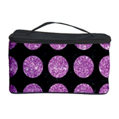Circles1 Black Marble & Purple Glitter (r) Cosmetic Storage Case by trendistuff