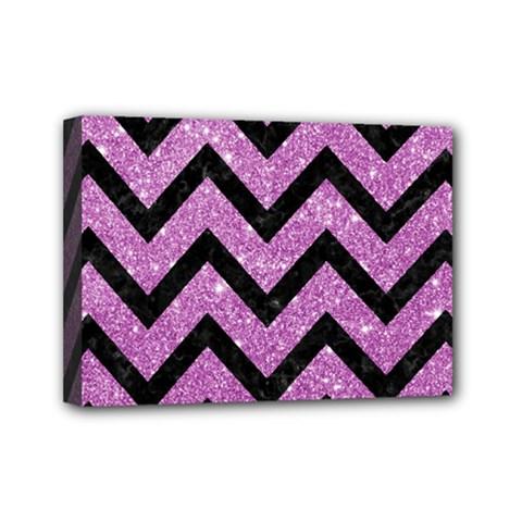 Chevron9 Black Marble & Purple Glitter Mini Canvas 7  X 5  by trendistuff