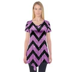 Chevron9 Black Marble & Purple Glitter Short Sleeve Tunic  by trendistuff
