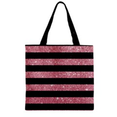 Stripes2black Marble & Pink Glitter Zipper Grocery Tote Bag by trendistuff