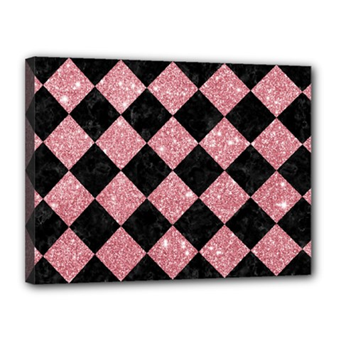 Square2 Black Marble & Pink Glitter Canvas 16  X 12  by trendistuff