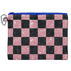 Square1 Black Marble & Pink Glitter Canvas Cosmetic Bag (xxl)