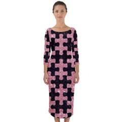 Puzzle1 Black Marble & Pink Glitter Quarter Sleeve Midi Bodycon Dress by trendistuff