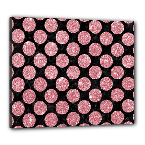 Circles2 Black Marble & Pink Glitter (r) Canvas 24  X 20  by trendistuff