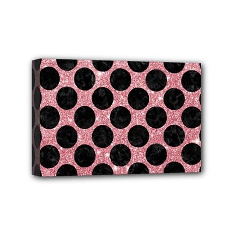 Circles2 Black Marble & Pink Glitter Mini Canvas 6  X 4  by trendistuff