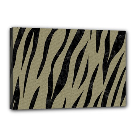 Skin3 Black Marble & Khaki Fabric Canvas 18  X 12  by trendistuff