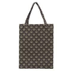 Scales2 Black Marble & Khaki Fabric Classic Tote Bag by trendistuff