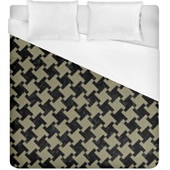 Houndstooth2 Black Marble & Khaki Fabric Duvet Cover (king Size) by trendistuff