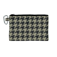 Houndstooth1 Black Marble & Khaki Fabric Canvas Cosmetic Bag (medium) by trendistuff