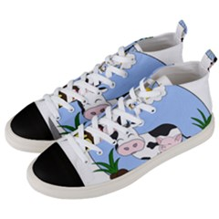 Friends Not Food   Cute Pig And Chicken Men s Mid Top Canvas Sneakers by Valentinaart