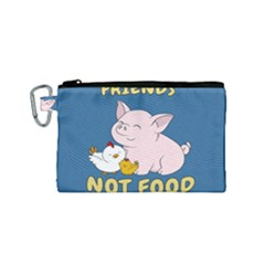 Friends Not Food   Cute Pig And Chicken Canvas Cosmetic Bag (small) by Valentinaart