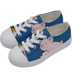 Friends Not Food   Cute Pig And Chicken Kids  Low Top Canvas Sneakers by Valentinaart