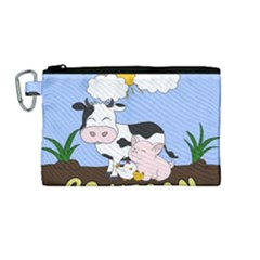 Friends Not Food   Cute Cow, Pig And Chicken Canvas Cosmetic Bag (medium) by Valentinaart