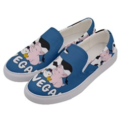 Friends Not Food   Cute Cow, Pig And Chicken Men s Canvas Slip Ons by Valentinaart